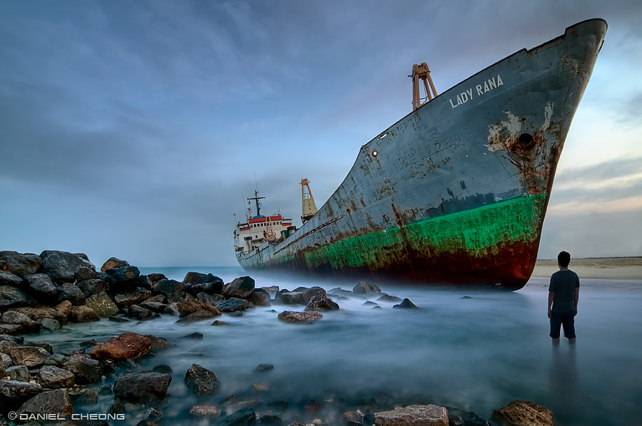 """An abandoned ship in Sharjah, the emirate next to Dubai. Combination of multi-exposures tone-mapped HDR & Digital Blending.  Follow me on <a href=""""http://www.facebook.com/danielcheongphotography"""">Facebook</a> and <a href=""""https://twitter.com/danielkhc"""">Twitter</a>"""