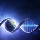 Постер, плакат: Glowing earth DNA strand