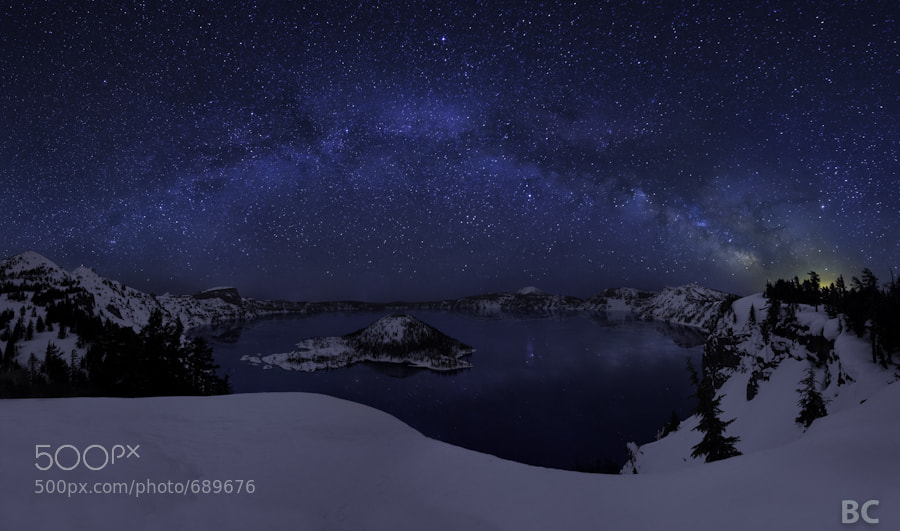 Wow! What an incredible night!  The night before was very cold, but new weather came in and turned into an almost warm night.  As the Milky Way rose over Crater Lake, the stars sparkled above and below, reflected in the water.  A light wind would occasionally blow through, otherwise it was a still, calm night.   This is a 9 image stitch. 5 shots for the sky, 4 shots for the landscape.   Thanks for visiting!