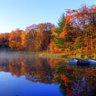 ������, ������: Fall Boating Sunrise Panoramic