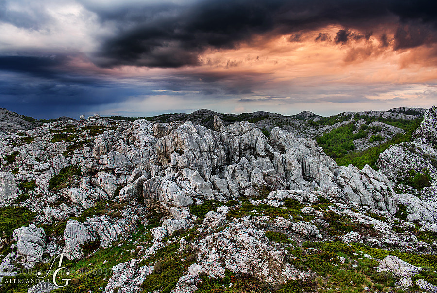 Karst of Velebit awaits another round of anger from above at the end of a stormy spring day