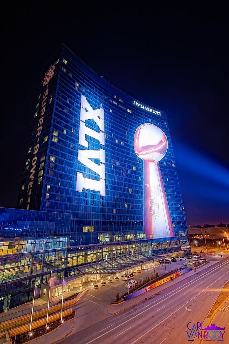 Photograph The Iconic JW Marriott Window Dressing from Super Bowl XLVI by Carl Van Rooy on 500px