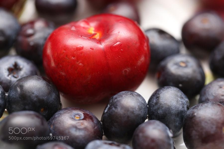 微距,樱桃,蓝莓