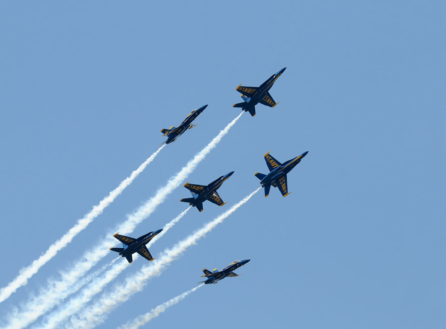 The US Marines demonstration team the Blue Angels in their F/A-18A, Hornets during an Airshow at the Marine Corps Air Station in Beaufort, South Carolina, USA.  Regards and have a nice Sunday,  Harry