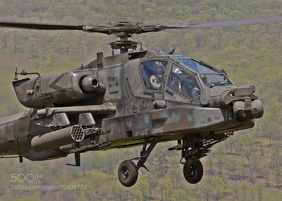 AH-64D Apache helicopter up close and personal over the ridges of Pennsylvania.