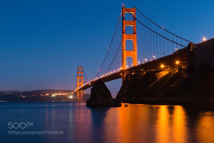 The Golden Gate Bridge at dusk, taken from Fort Baker.