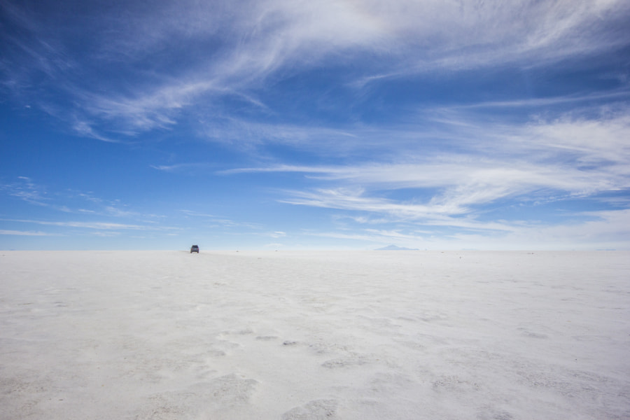 """Salar de Uyuni"" is the world's largest salt flat at 10,582 square kilometers (4,086 sq mi). It is located in the Potosí and Oruro departments in southwest Bolivia, near the crest of the Andes and is at an elevation of 3,656 meters (11,995 ft) above mean sea level."