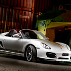 Постер, плакат: Light Painting Porsche Boxster Spyder white