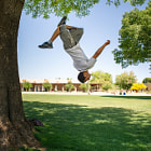 """I am always amazed at the great people you get to meet shooting pictures.   This is a """"tree flip"""" by a very talented parkour athlete.   It was amazing what these guys could do."""