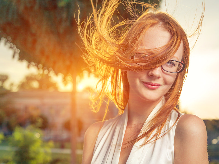 sunset wind in hair, redhead by Dimitriy Shabanov on 500px.com