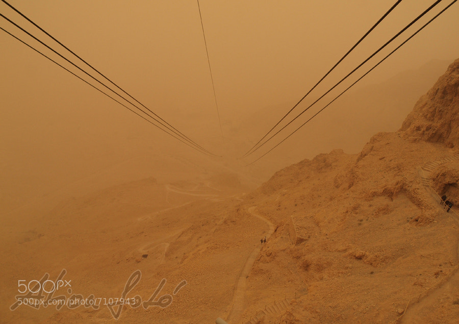 Photograph Masada in sandstorm by S.Varga Ilona on 500px