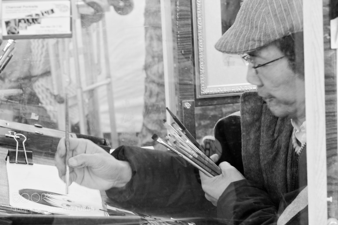 Photograph Portrait of artist doing a portrait by perry churchill on 500px