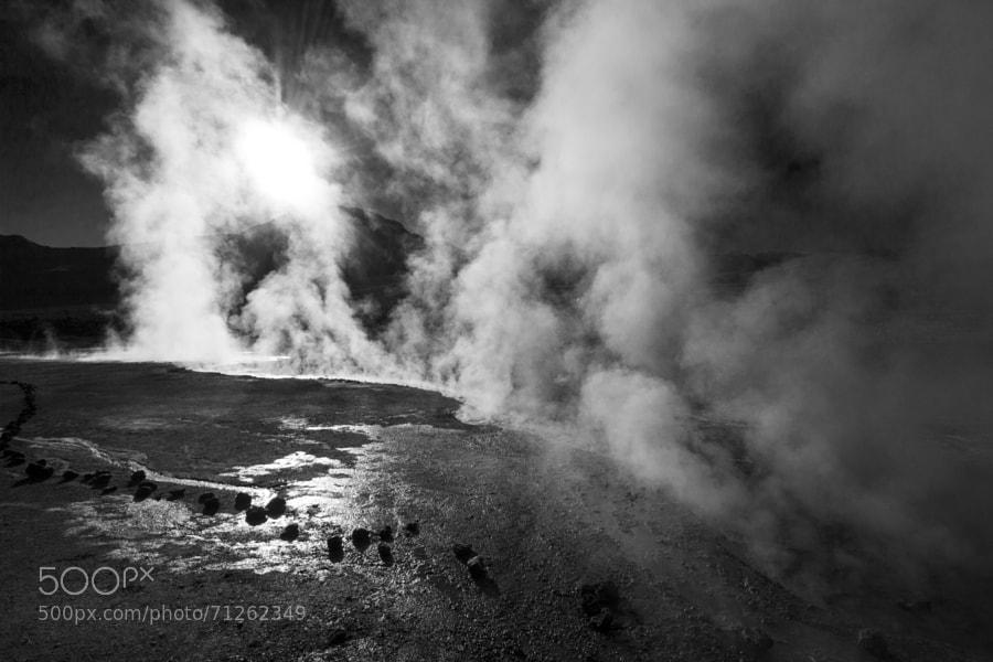 Chilean geysers of Tatio. 80 Celsius degrees vapor. Atacama Desert.