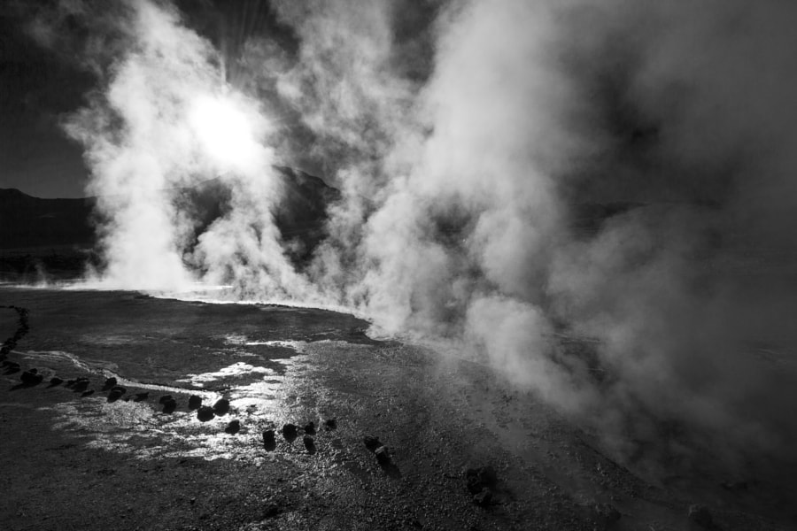 Chilean geysers of Tatio. 80 Celsius degrees vapor. Atacama Desert.