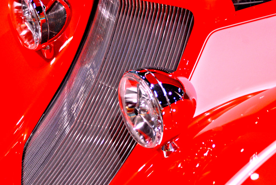 Red Classic Car with Grill