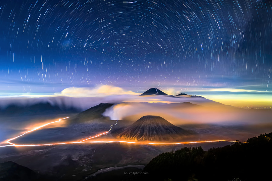 Photograph Startrails Mount Bromo by Anuchit ????????? on 500px