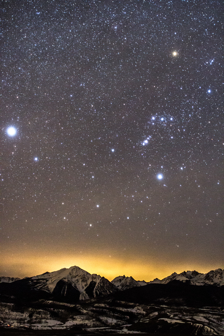Photograph Orion and Sirius over Gore Range by Daniel McVey on 500px
