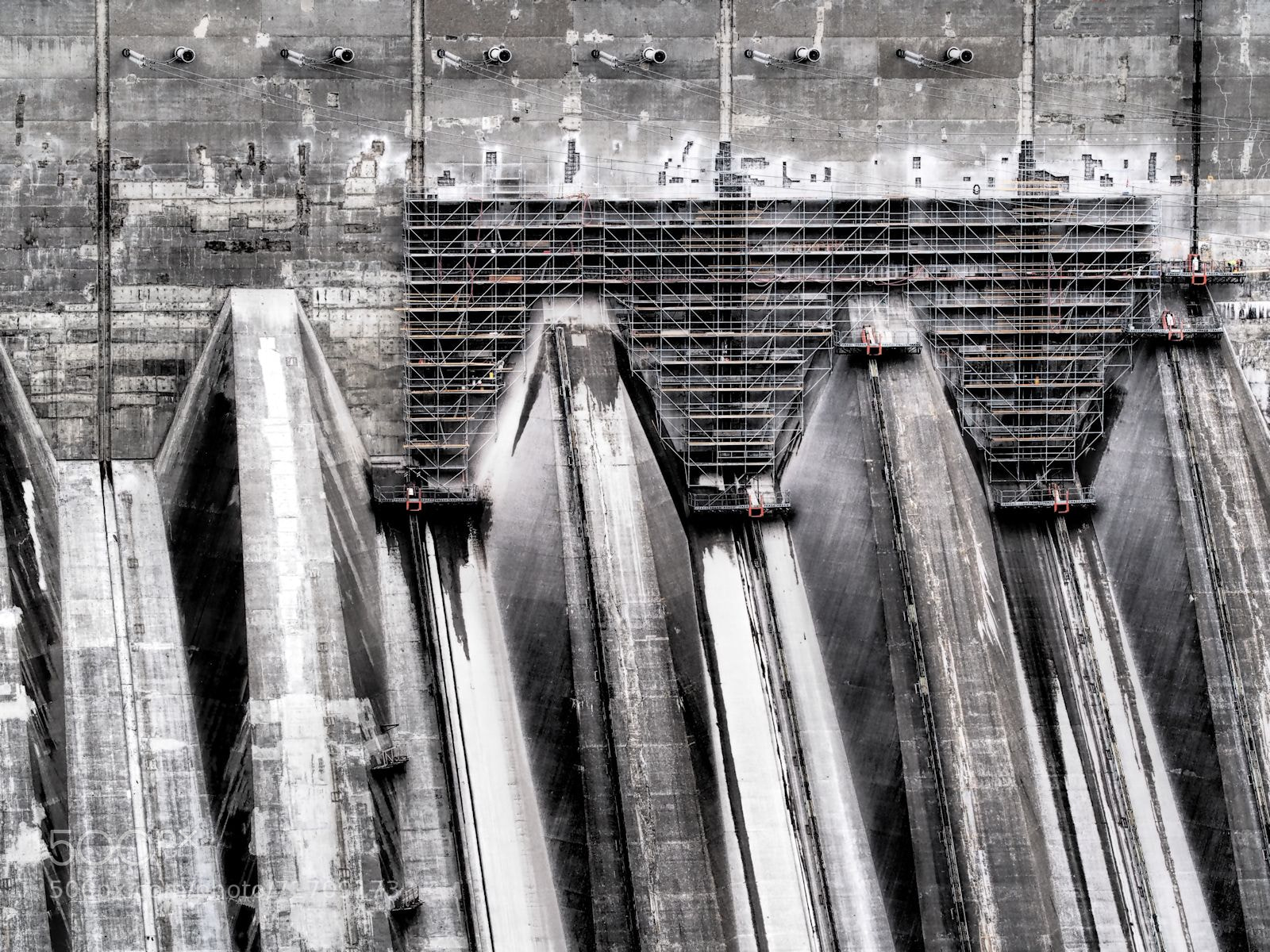 Photograph Spillway Scaffolding by Grant MacDonald on 500px