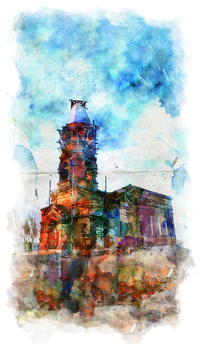 Photograph watercolour church by Christian Clim on 500px