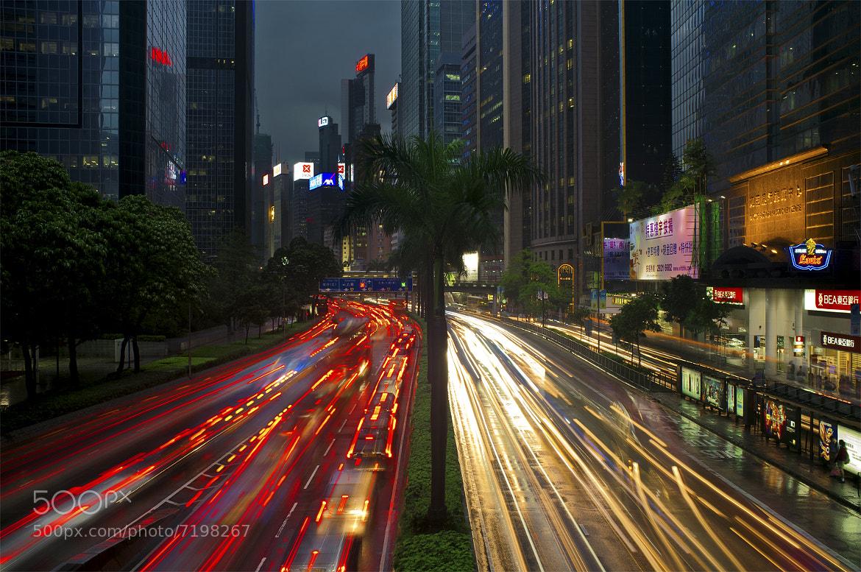 Photograph Rush Hour - Gloucester Road - Wan Chai - Hong Kong - Fujifilm X100 - Light Trails by Antony  Williams on 500px