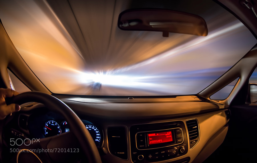 Captured while driving in a tunnel and going out of it