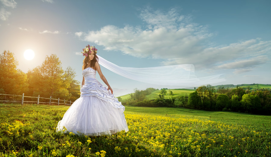 Beautiful bride in the outdoors - idyllic by Gergely Zsolnai on 500px.com