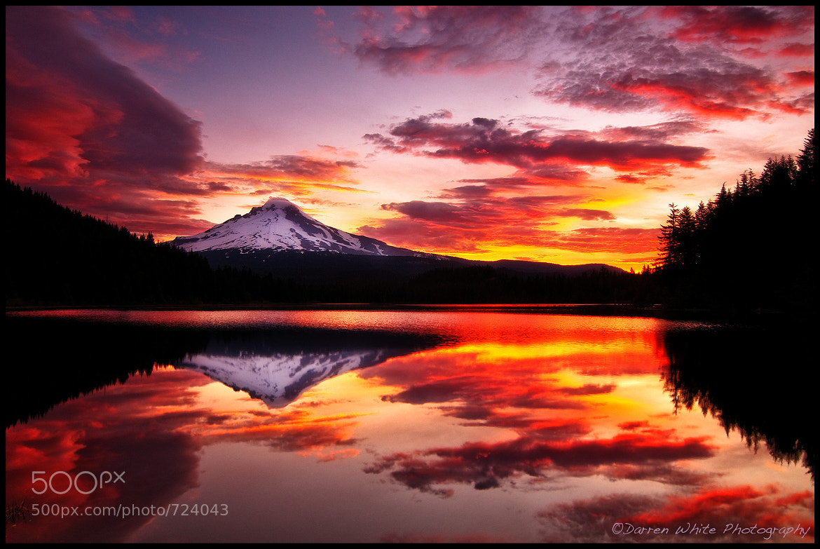 Photograph Trillium Lake On Fire by Darren  White on 500px