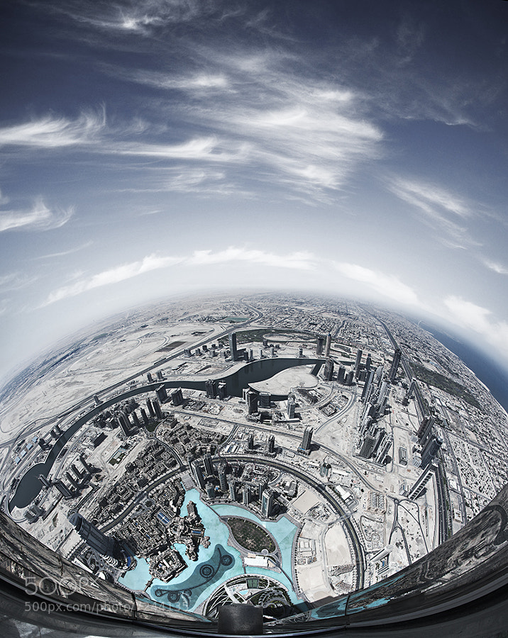 Shot from around 700m up the Burj Khalifa, the tallest structure in the world.