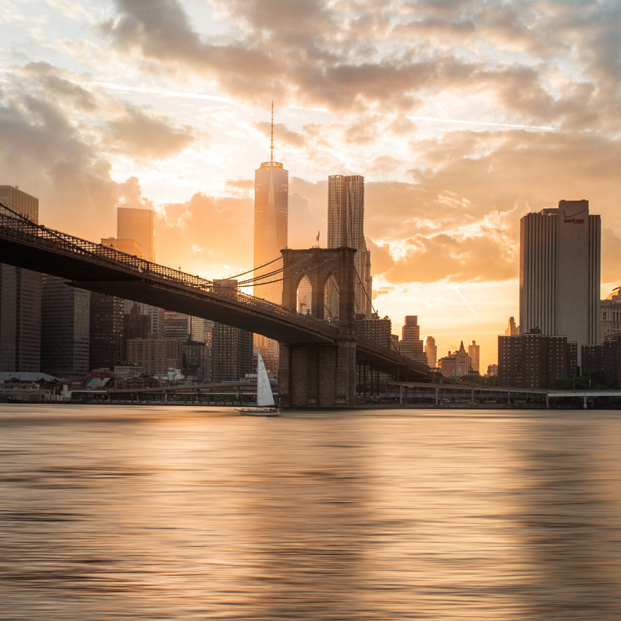 Photograph Brooklyn Bridge and new world center in the sunset. by Siyu Liu on 500px
