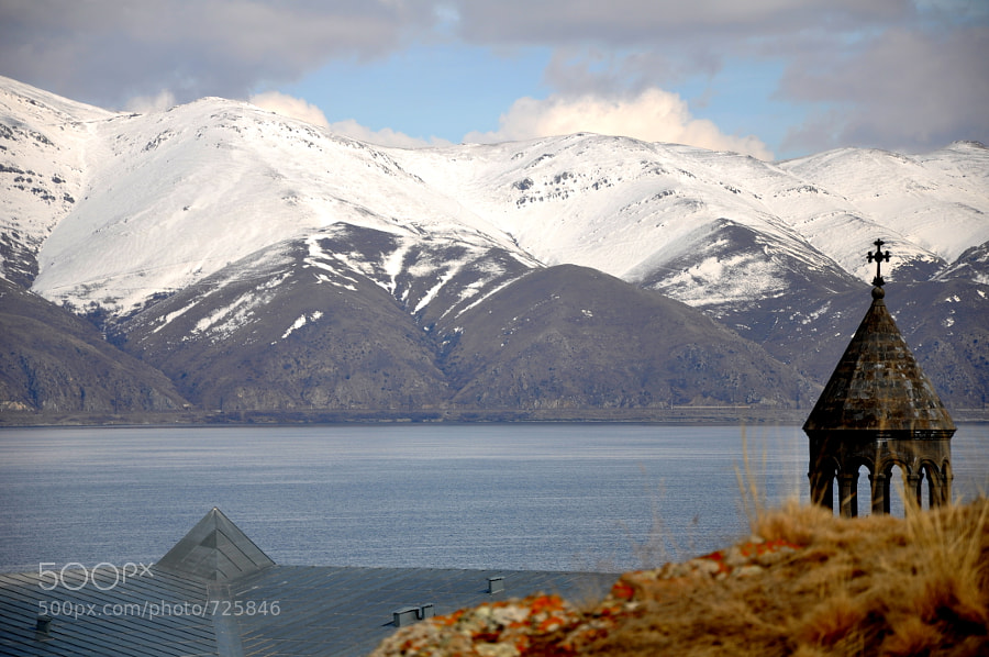 A Church at the edge of Lake SEVAN made for a perfect setting..  NIKON-D90