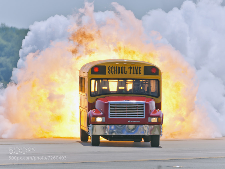 The School Time jet powered school bus is driven by Paul Stender and powered by a F-4 Phantom's jet engine.