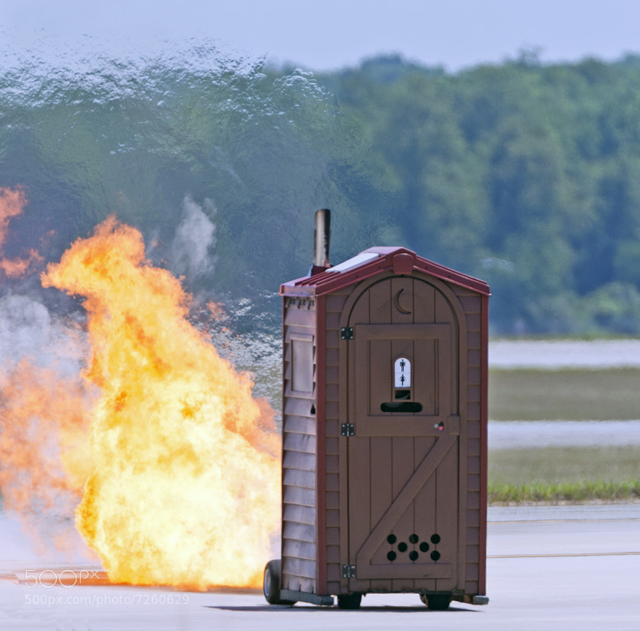 Paul Stender drives a jet powered Outhouse during the Robins AFB air show