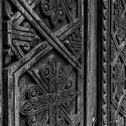 The ornaments on the door of Geghard monastery