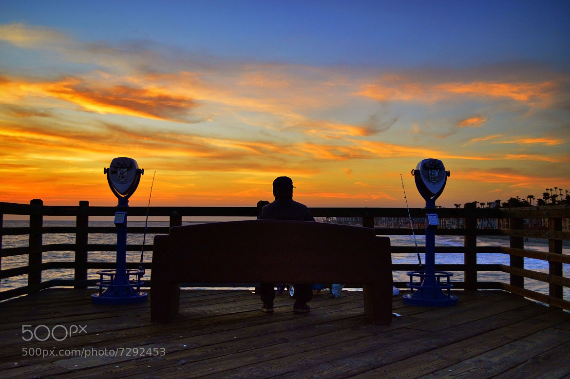 Fisherman at sunset on the oceanside pier may 4 2012 by for Oceanside pier fishing reports