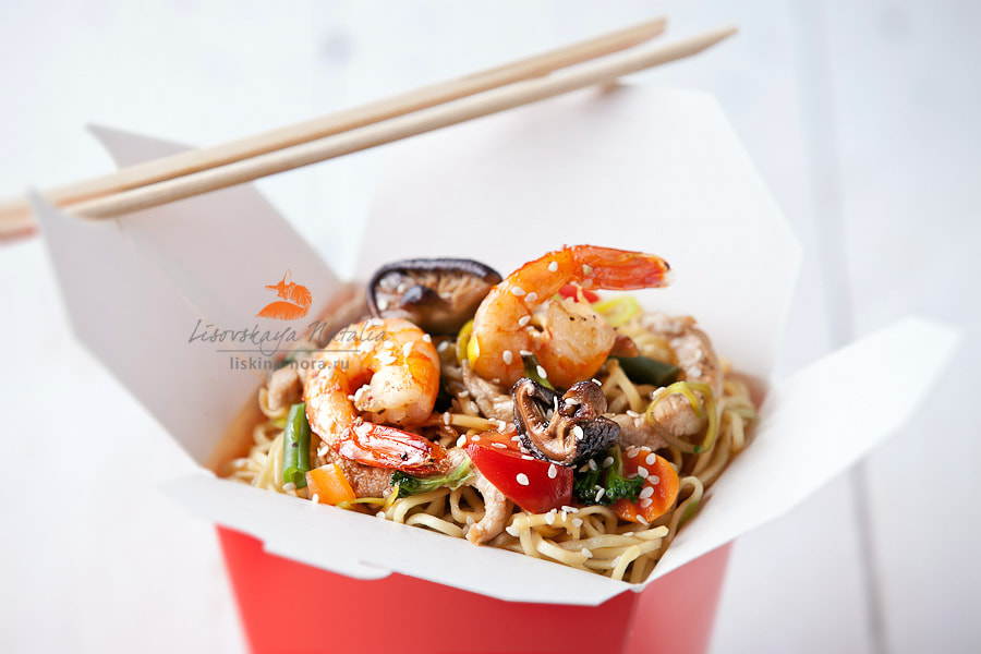 Photograph Egg noodles with shiitake mushrooms, shrimp and pork in sweet and sour sauce by Natalia Lisovskaya on 500px