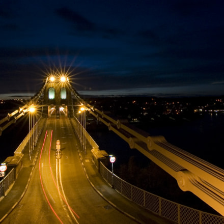 North Wales, Menai Suspension Bridge at night