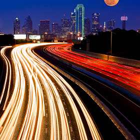 Dallas Downtown and Super Moon by Manish Mamtani (MMamtani)) on 500px.com