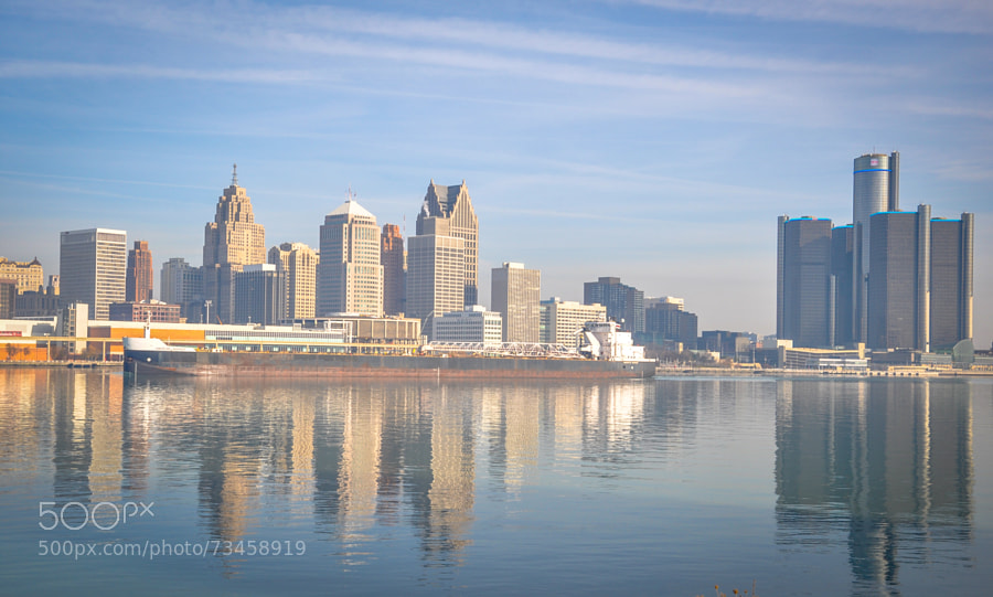 A classic skyline shot of Detroit viewed from Windsor, Ontario.