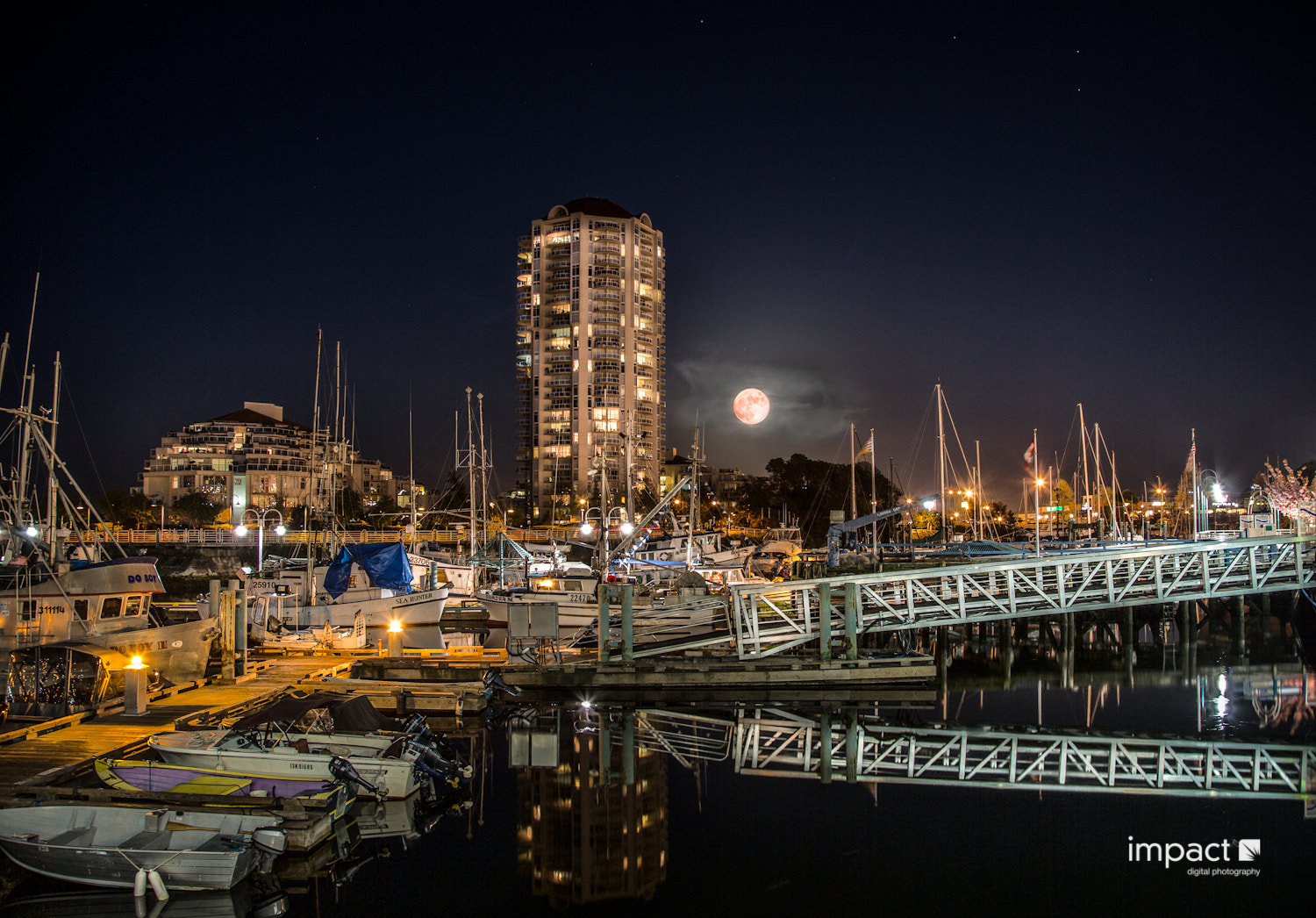 Photograph Harbour Moon in Nanaimo by Mike Thompson on 500px