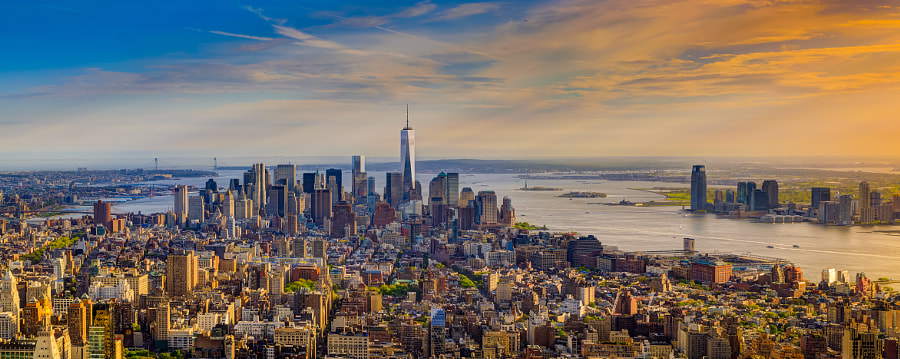 Lower manhatten sunset by Andrew Thomas on 500px.com
