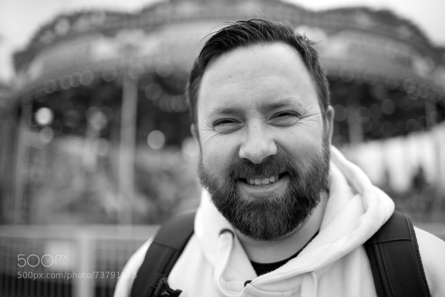 This was the day that we got to watch Godzilla in the IMAX! Our first ever experience of the IMAX and it was awesome. Before the movie started, we had some time to kill so we hung out at Cardiff Bay and he let me take his portrait in front of the carousel.  I look at this and my heart aches with love. ♥