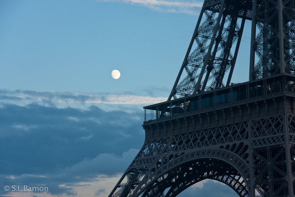 Photograph Tower and Moon (Paris, France) by Stacy Bamon on 500px