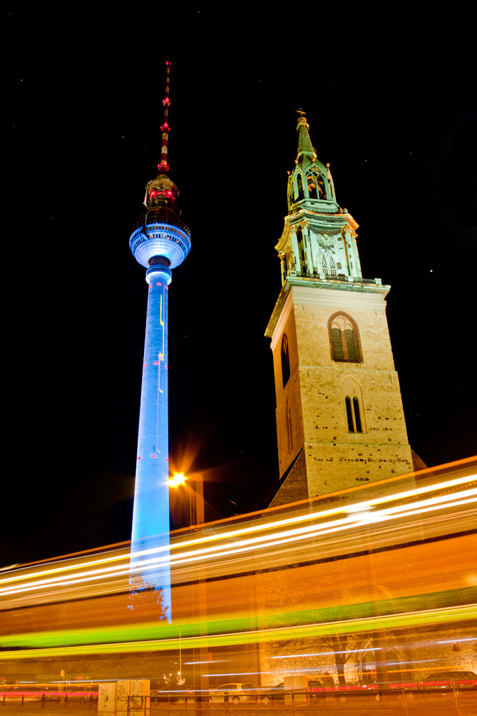 Photograph TV tower, church and tram - Berlin Festival of Lights by Stacy Bamon on 500px