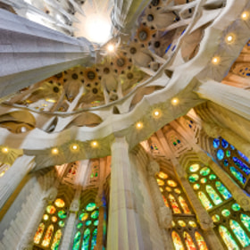 Stained glass ambulatory of Sagrada Família, HDR from 3 exposures (handheld), Barcelona, Spain