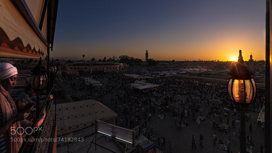 Sunset above Djema el-Fna in Marrakesh