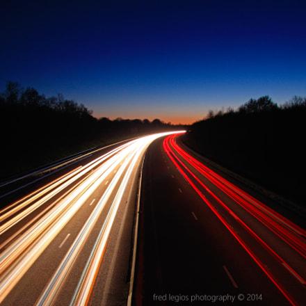 heure bleu sur l'autoroute de Normandie
