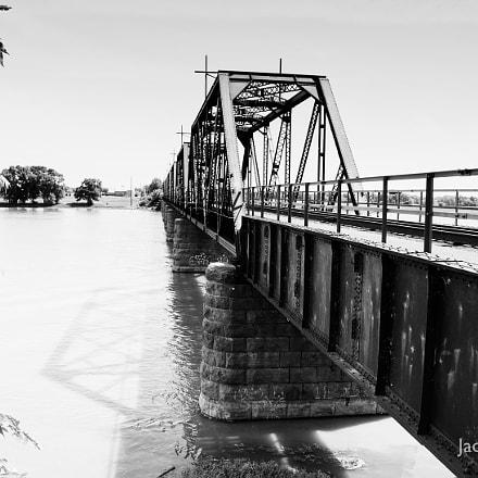 Infinite train bridge in grays