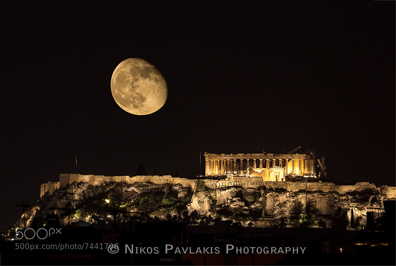 Photograph Parthenon and moon by Nikos Pavlakis on 500px