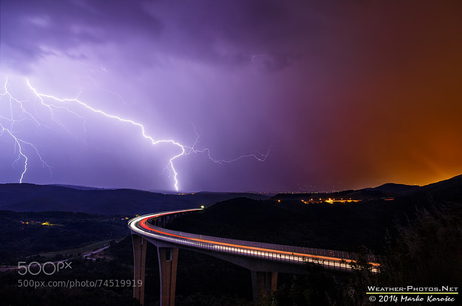 Photograph Lightning over viaduct Crni Kal by Marko Korošec on 500px