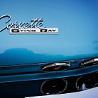 Постер, плакат: Blue Corvette Sting Ray Rear Emblem